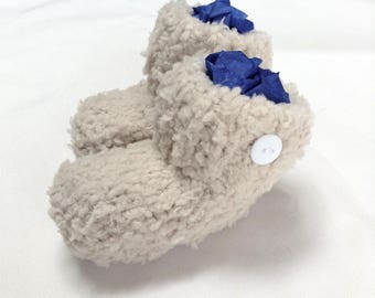 Soft fluffy coffee knitted baby booties for 0-3 months