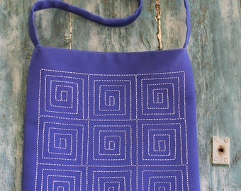 Hand Embroidered shoulder bag blue with embroidery