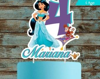 Jasmine Cake Topper, Princess Jasmine Topper, Printable Personalized Jasmine Centerpiece, Jasmine Birthday Party Decorations, Jasmine Party