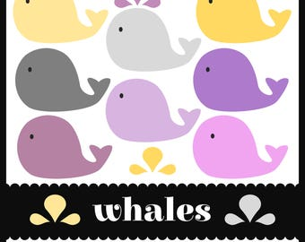 Whales Clip Art. Yellow. Gray. Purple / Violet. Mauve/ Pink. Waves and Water Splashes Included.