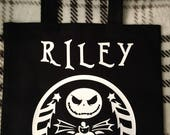 Personalized Jack Skellington Trick or treat tote