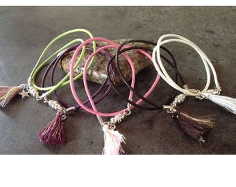 Leather cord bracelet doubles tour, tassel, magnetic clasp, Star charm.