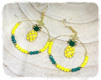boucles d'oreilles dorées hoop Pine Green and yellow pineapple Canary