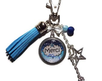 "Keychain / bag charm ""Merci"" / gift to say thank you personalized"