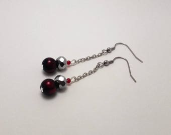 Silver plated chain with red and silver beads dangling earrings