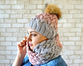 Scarf and hat set Knit hat women pom pom Chunky infinity scarf Knit winter set hat scarf Christmas gift for wife Women gray set