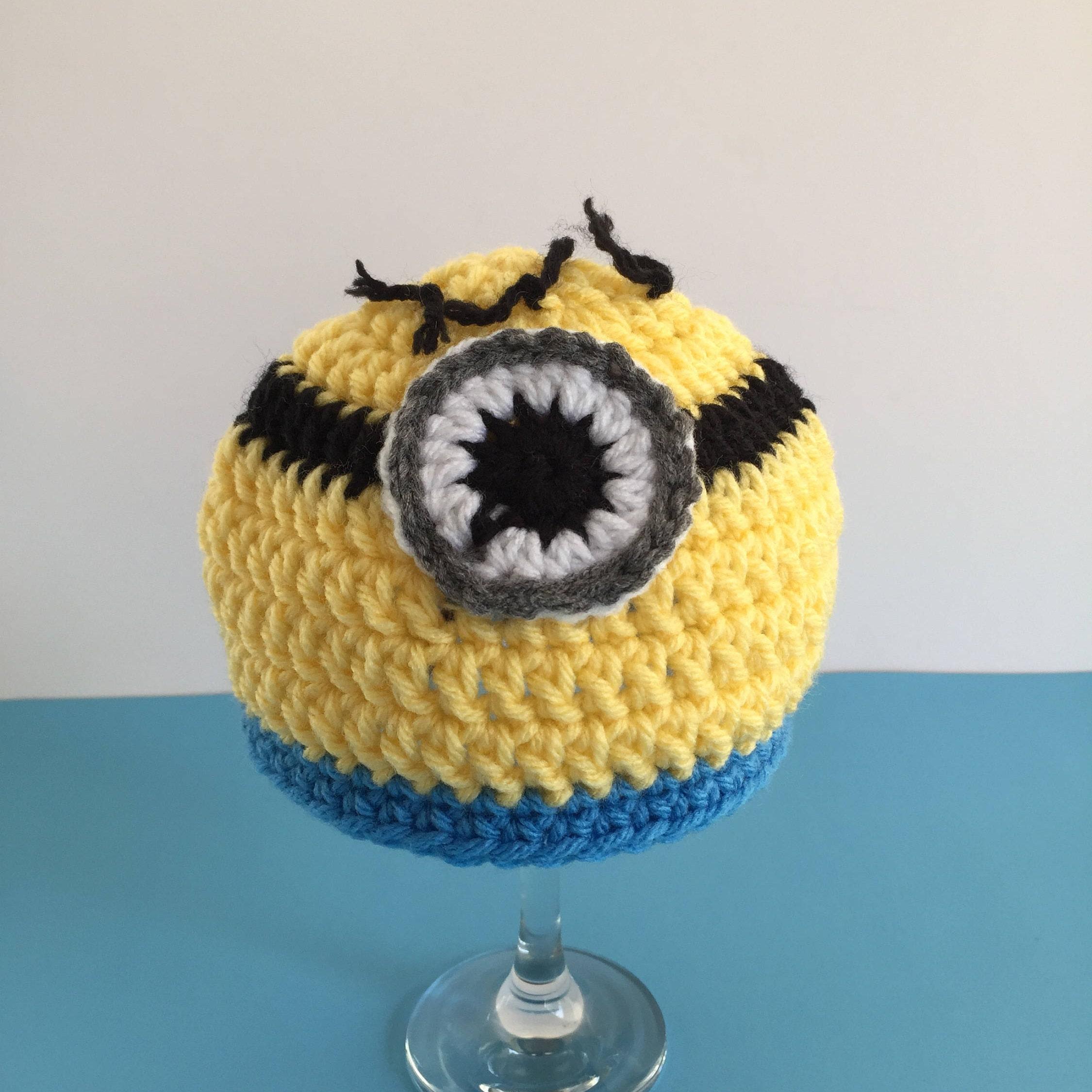 baby crochet minion hat, despicable me inspired minion hat, purple ...