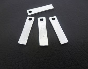 4 rectangle charms, geometric 31 * 8mm old silver (8SBA28)