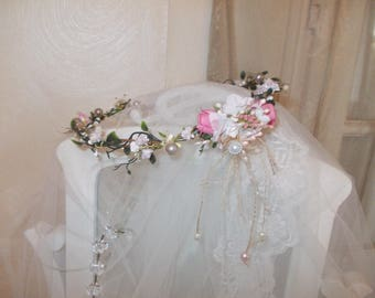vintage cottage chic floral hair wreath headband