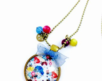 Long bronze necklace - cabochon pretty poppies - blue organza bow