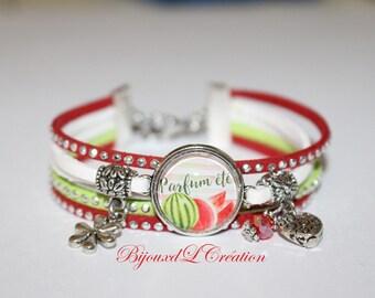 Ribbon suede rhinestone scent of summer bracelet