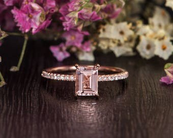 Emerald Cut Morganite Ring Rose Gold Engagement Ring Half Eternity Diamond Woman Ring Solitaire Antique Unique Promise Bridal Gift for Her