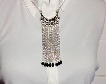Silver and black bib necklace