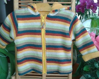 COAT warm winter baby 12 months striped Brown green yellow with hood, birthday gift