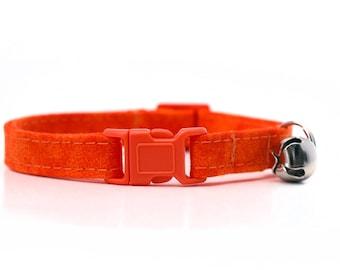 Orange Cat Collar with breakaway buckle