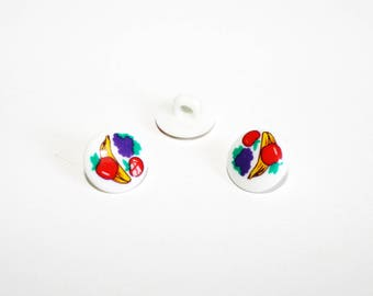2 white buttons with fruit, set of 2 buttons, shank button