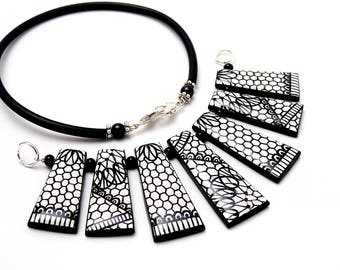 Necklace trapezoid pearls - black lace pattern - black and white necklace - All season necklace.