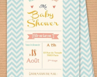 Customizable printable invitation, Baby shower