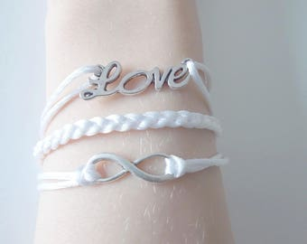 White Love, infinity and braided bracelet