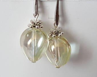 Designer earrings Pearl glass teardrop shaped pale yellow