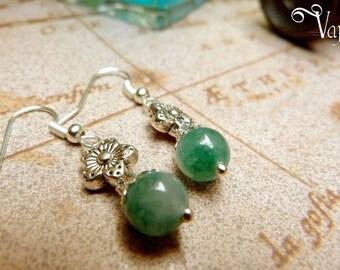 Silver earrings pearl of jadeor amethyst and flower