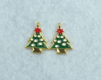 2 pendants Charm charm Christmas tree Christmas enamel 21 x 15 mm