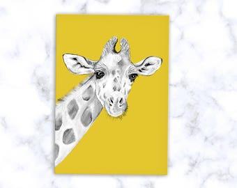 Giraffe Print, Giraffe Card, Giclee Print, Giraffe Illustration, Giraffe Drawing, Giraffe Wall Art, Pink Giraffe, Yellow Giraffe, Art Print