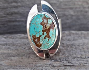 "Nevada Turquoise & Sterling Silver ""Shield"" Statement Ring"
