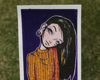 Original ACEO Card - Watercolor & Gouache Miniature Painting