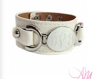 Monogram Leather Bracelet, Monogram Cream Leather Bracelet, Leather Bracelet