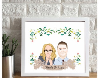 Custom portrait illustration, couple personalized sketch, wedding anniversary, couple drawing illustration, printable print wall art digital