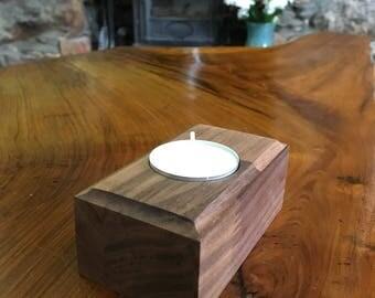 Wooden Staved Walnut Tealight Holder, Birthday, Housewarming, Valentines, Mothers Day, Gift, Present, Rustic Homeware
