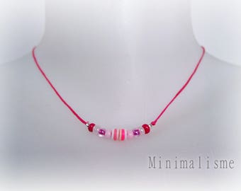 Necklace fuchsia cotton and beads Ref: M032