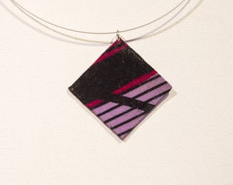 Square pendant purple pink and black
