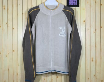 Vintage Quiksilver Sweatshirt Full Zipper Hand Knit Style Brown Colour Size M Adidas Nike Windbreaker