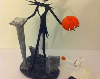 "JACK SKELLINGTON & ZERO figurine from Tim Burton's ""the nightmare before Christmas of Mr Jack"" (view 3)"