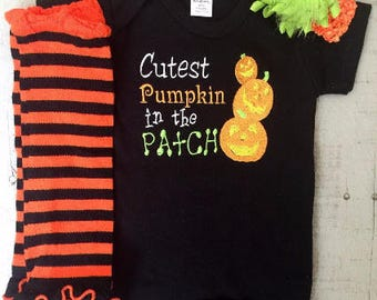 Bodysuit, Cutest Pumpkin in the Patch, Halloween Onesie, Halloween, Baby Girls Clothes, Leg Warmer, Hair Bow, Baby Gift
