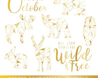 Geometric Animals SVG | Forest Animals SVG | Gold Animals SVG | Fall quote | Fall Animals | Thanks Giving Clipart | Commercial Use