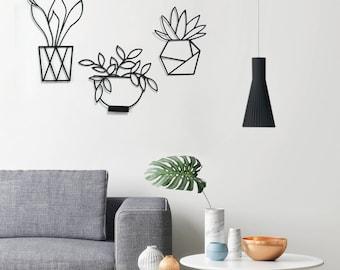 Set of 3 wall art, plants wall decor, minimalist wall art, minimalist room decor, plants decor kitchen, room decor, metal wall hanging