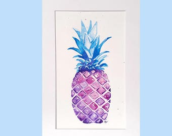 Pineapple painting, A4, original watercolour pineapple, teenager decor, bright fruit painting, colourful pineapple, pineapple home decor