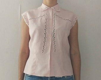 Vintage pastel pink blouse with embroidery at front
