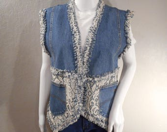 Vintage Jean Vest Chic Jeans homemade lace and denim raw hem frayed seam Size large
