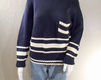80s preppy, nautical,collegiate, sweater size medium women's, ramie and cotton