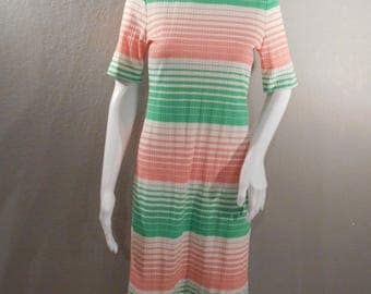 1960s Striped Dress; pastel green, pink, and white; size xs, or size 0 or 2
