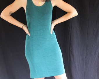 green stretch mini dress