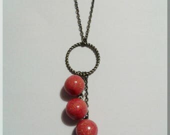 Necklace - Round earrings red/pink and yellow