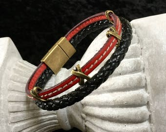 Mixed red and black braided leather bracelet