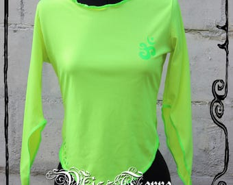 Lemon Aum - Top sleeve neon yellow Neon mi-longues spikes, size S, T.36 - 38 Creation MissTerre & the pickle, Handmade in France