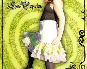 Vanilla - Ruching and ruffle Tutu skirt, cotton fabric, beige gold geometric patterns and tulle, size 42-44 XL made in France
