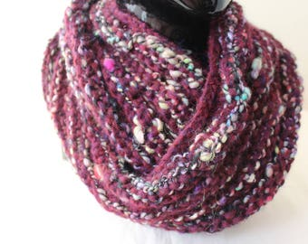 "Burgundy Alpaca Snood ""knitted"""
